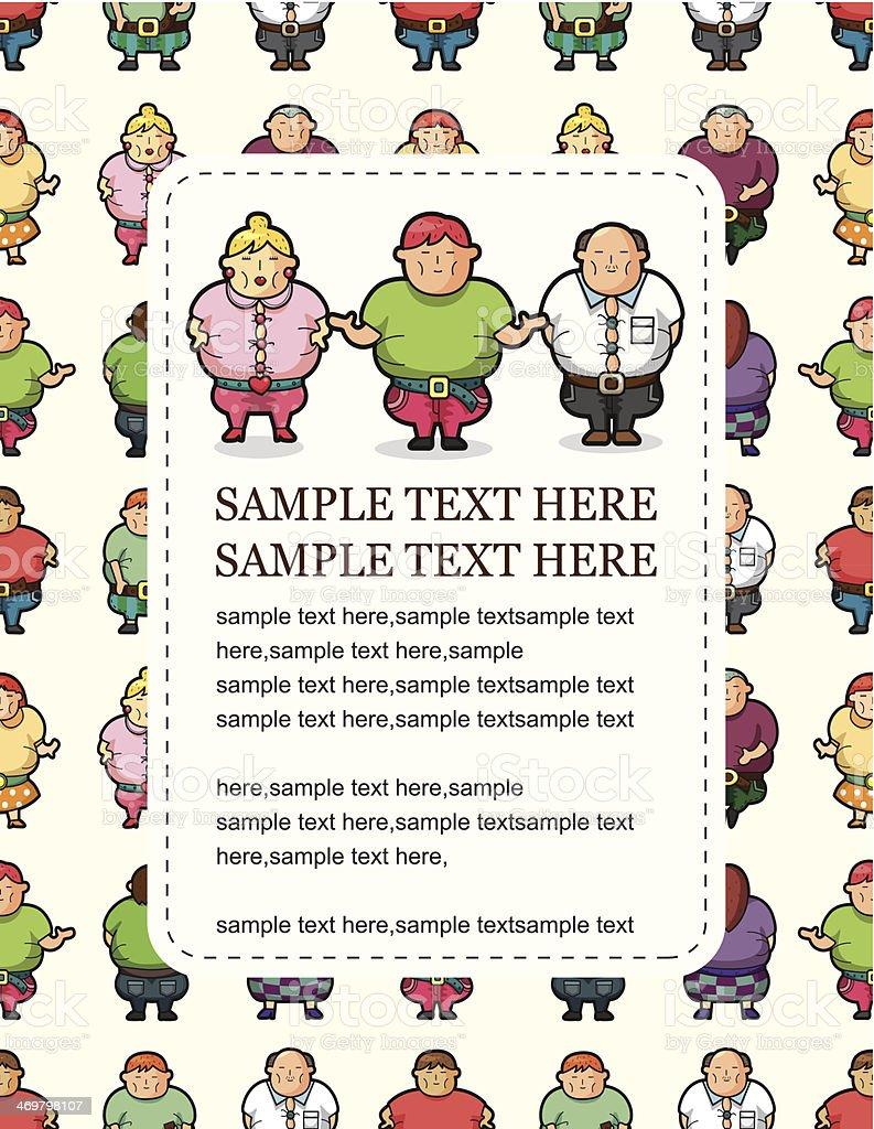 Cartoon Fat people card royalty-free stock vector art