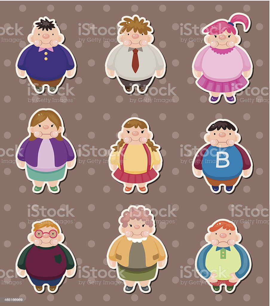 Cartoon Fat people stickers vector art illustration