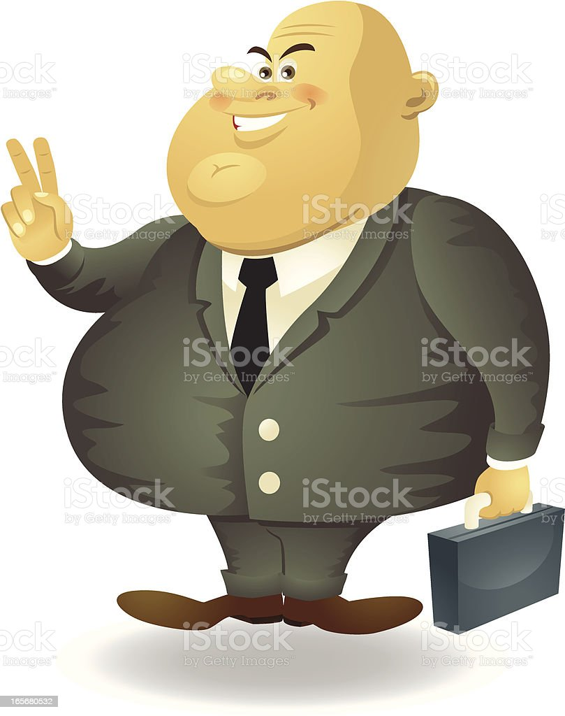 Cartoon Fat Politician Smiling For Your Vote royalty-free stock vector art