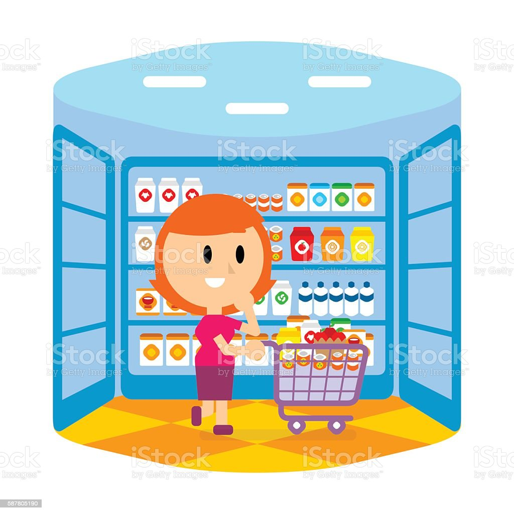 Cartoon female pushing cart at the Grocery Store vector art illustration