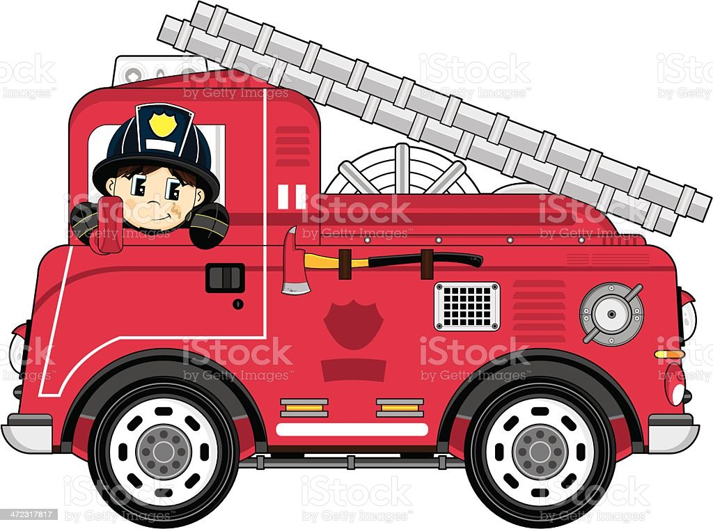 Cartoon Fireman and Fire Engine vector art illustration