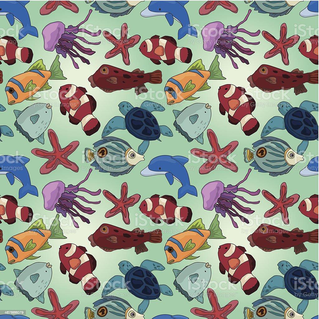 cartoon fish seamless pattern royalty-free stock vector art