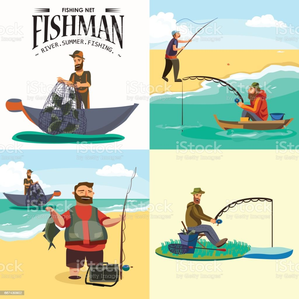 Cartoon fisherman standing in hat and pulls net on boat out of sea, happy fishman holds fish catch and spin vecor illustration fisher threw fishing rod into water concept, man active hobby character design vector art illustration