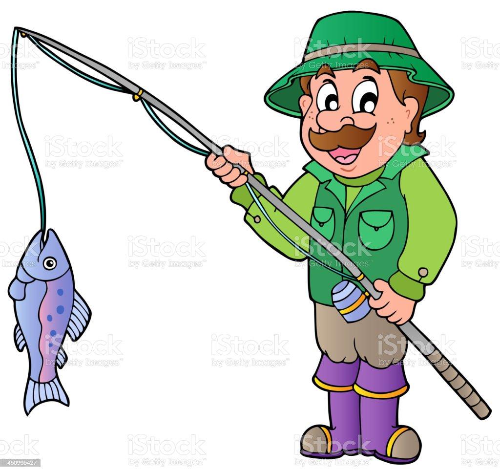Cartoon fisherman with rod and fish royalty-free stock vector art