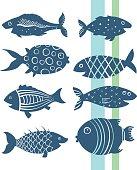 Cartoon fishes set