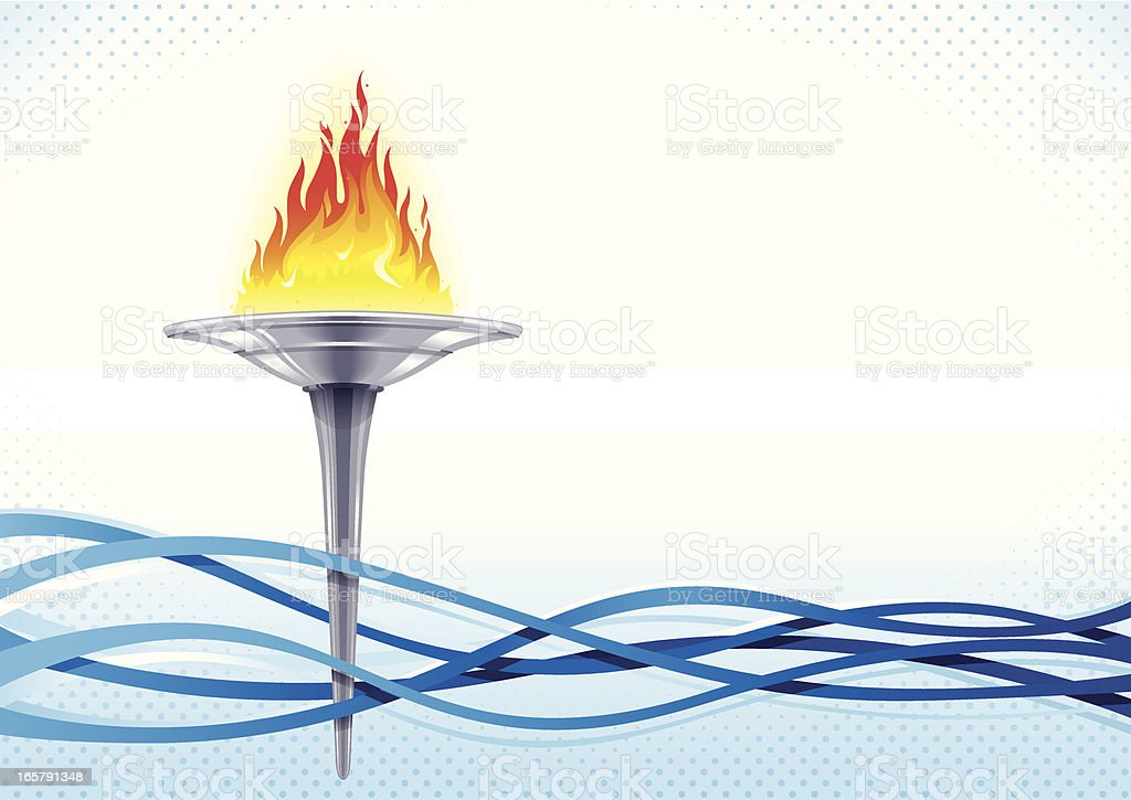 A cartoon flaming torch amongst several blue waves royalty-free stock vector art