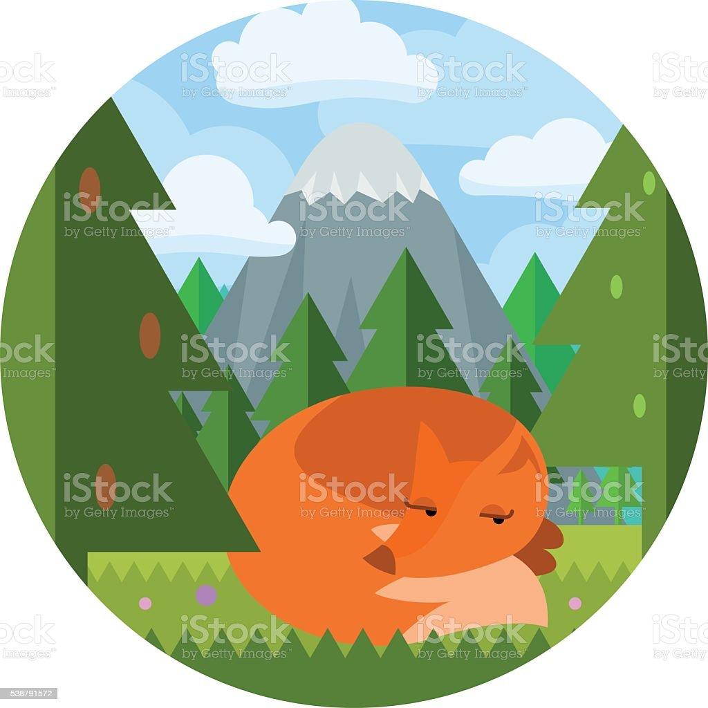 Cartoon flat style fox sleep on clearing in the woods vector art illustration