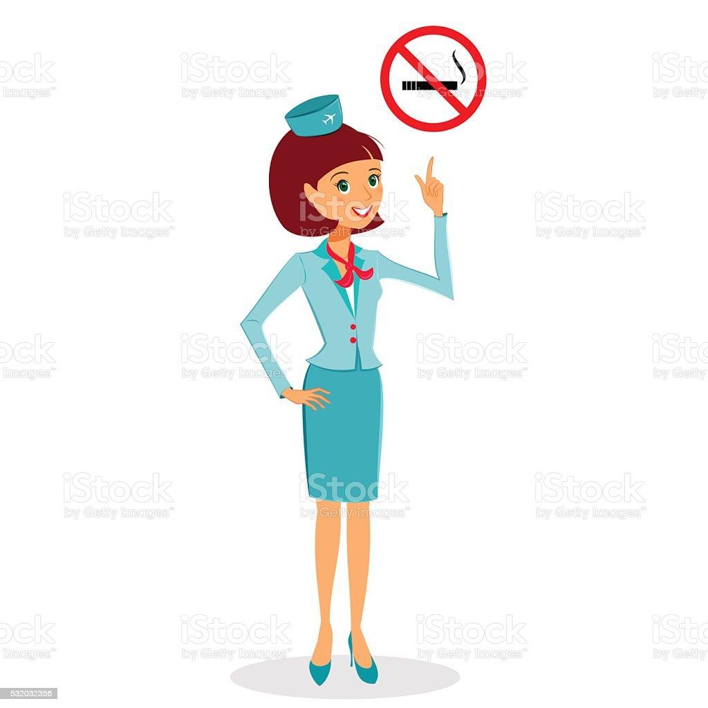 Cartoon flight attendant in uniform pointing on No Smoking sign vector art illustration