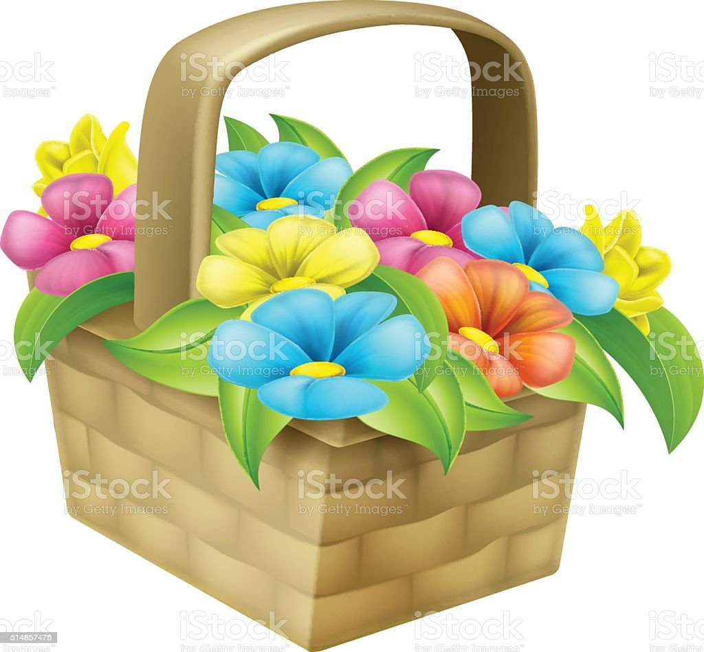 Cartoon Floral Basket vector art illustration