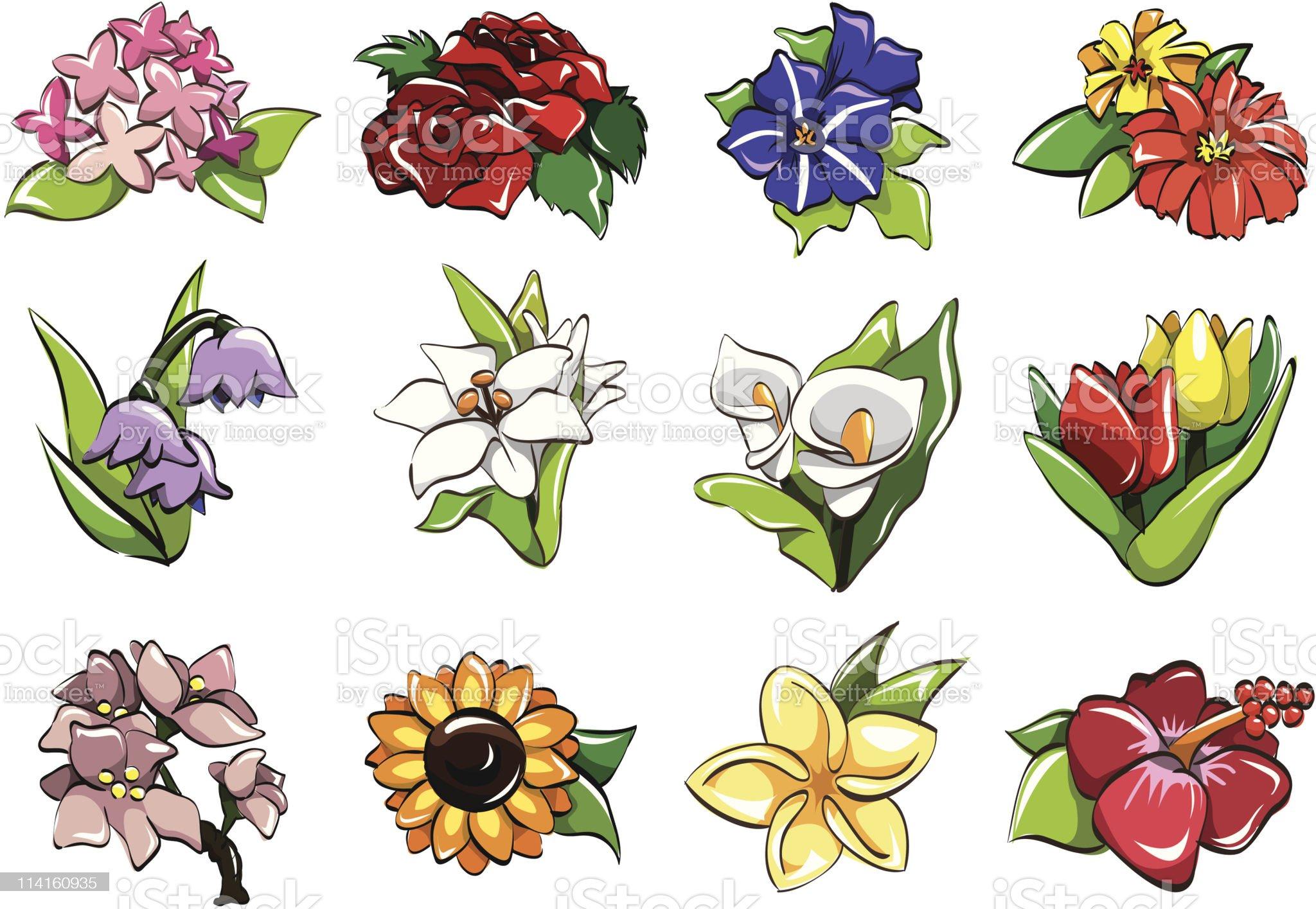 cartoon flower icon royalty-free stock vector art