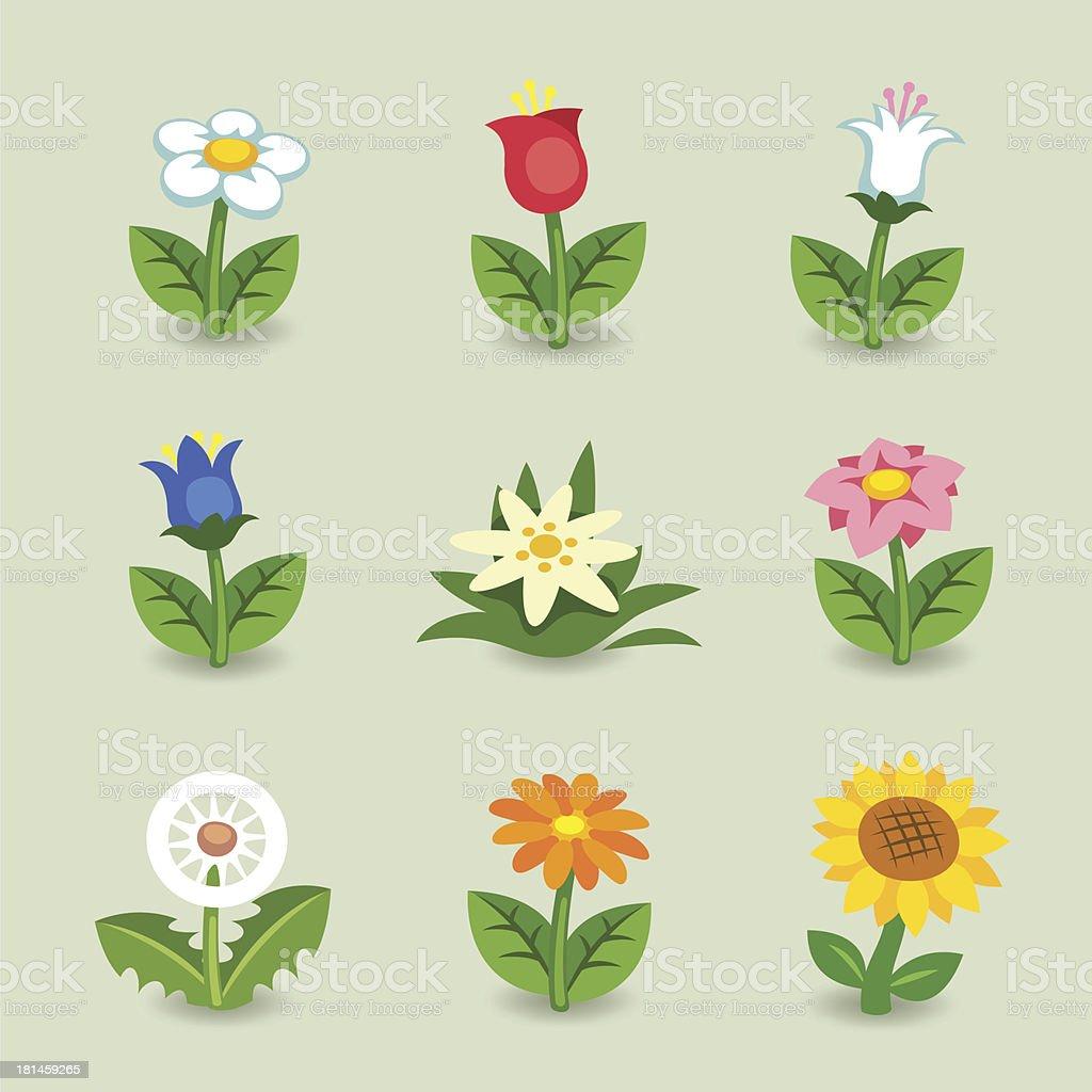 Cartoon Flower Set vector art illustration
