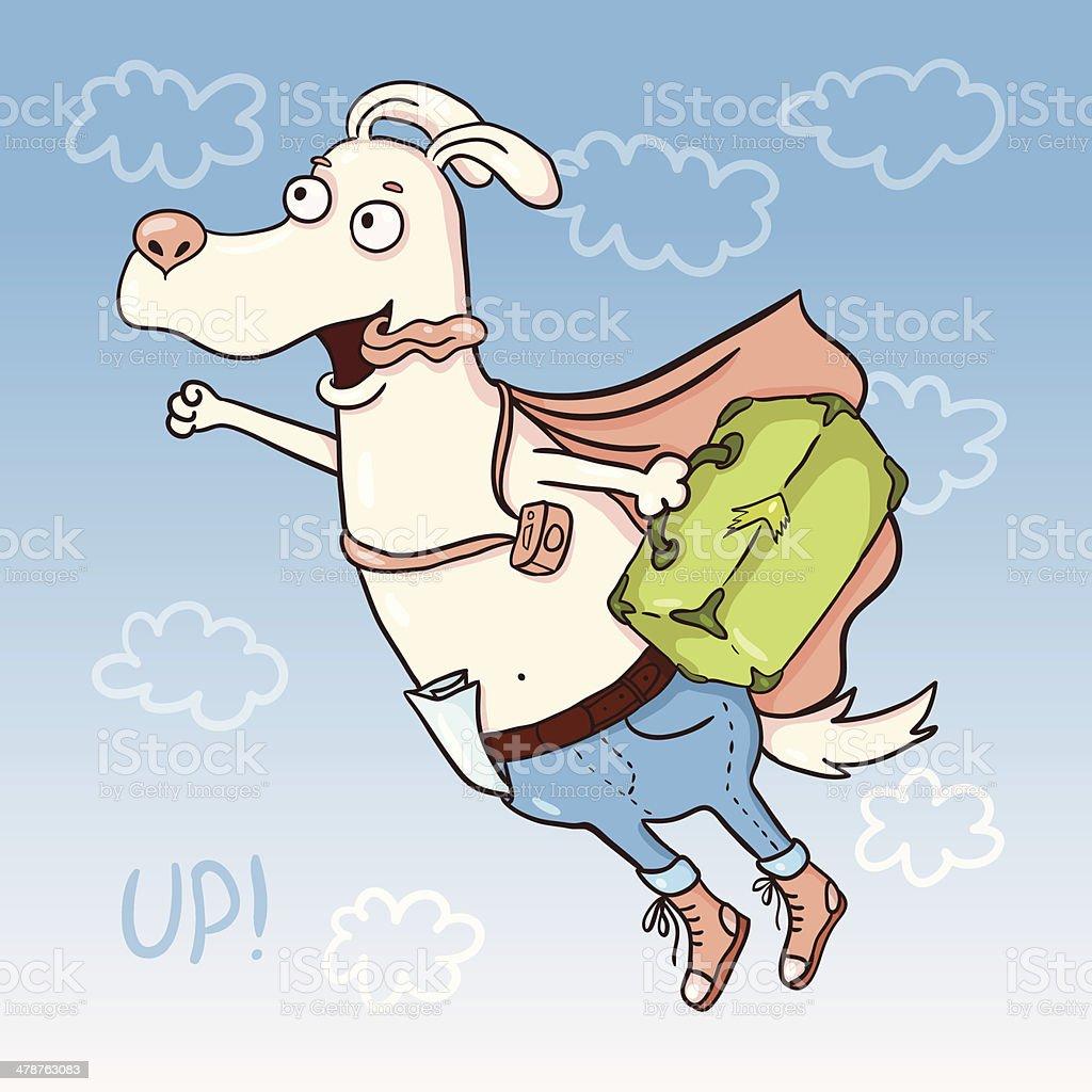 Cartoon flying dog having a trip vector art illustration