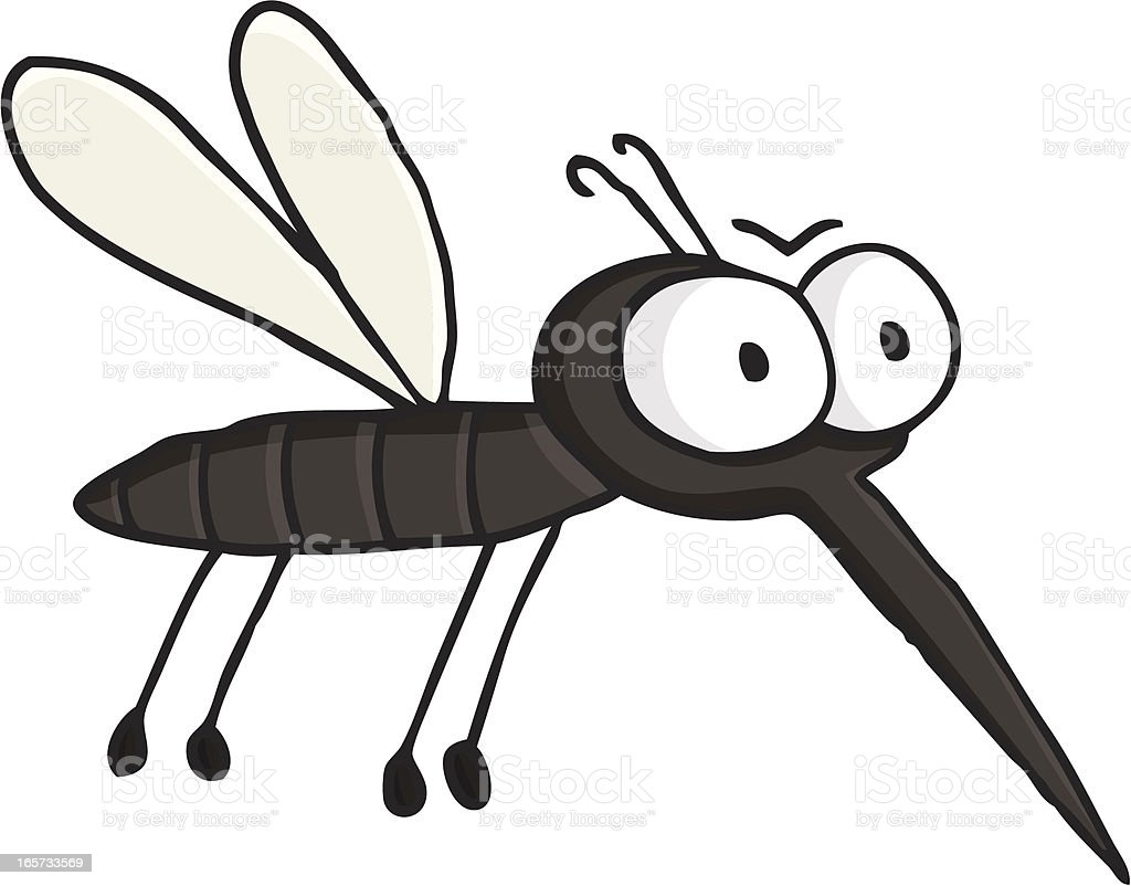 cartoon flying mosquito / vermin - insect vector art illustration