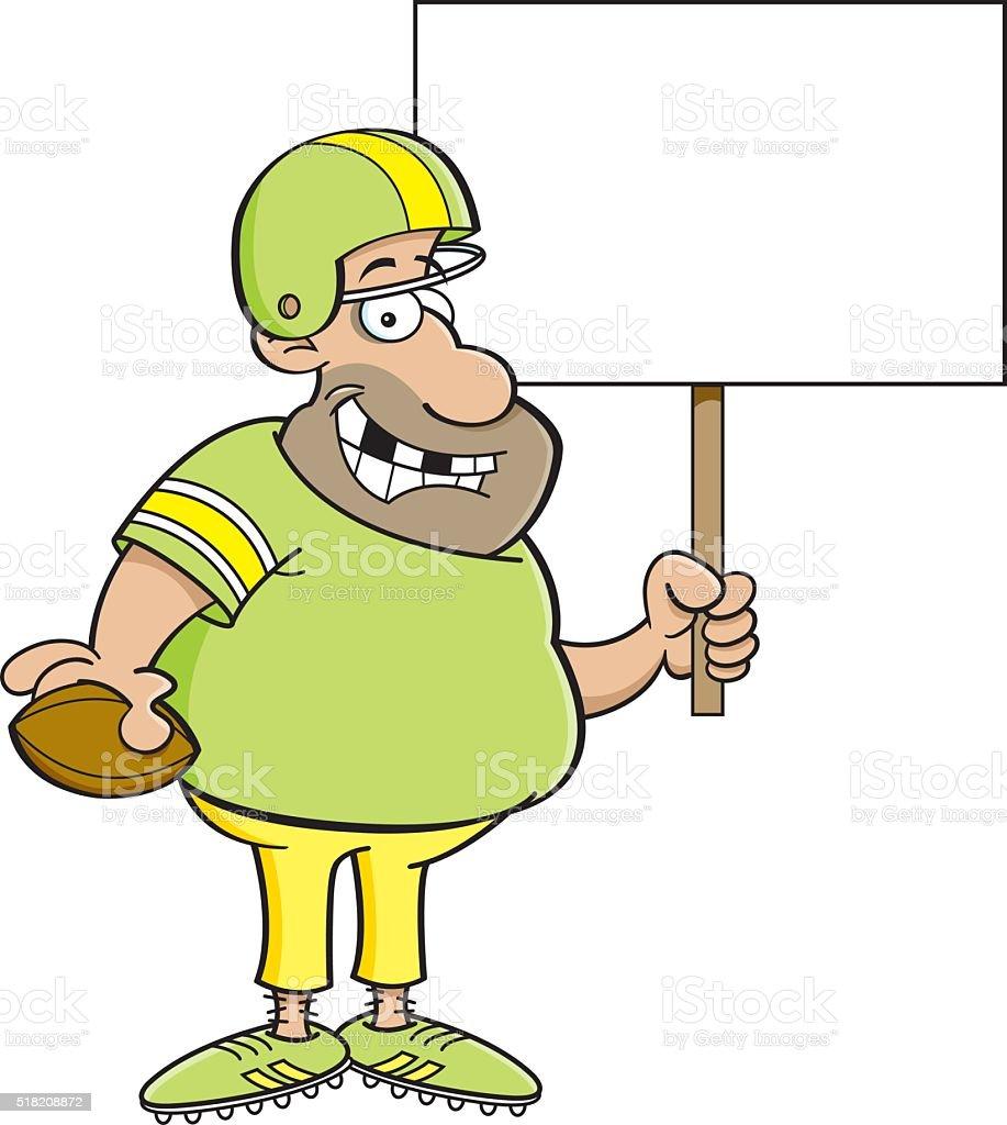 Cartoon football player holding a sign. vector art illustration