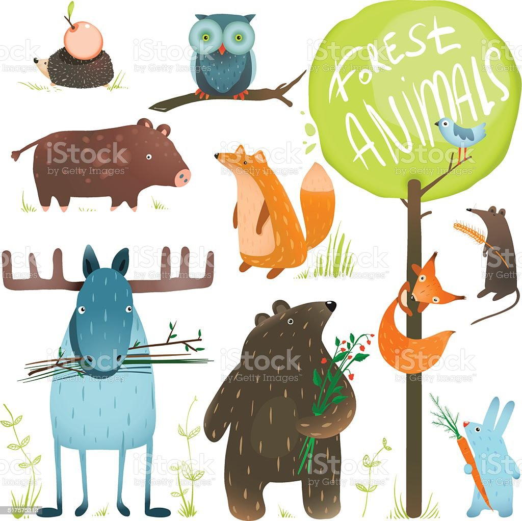 Cartoon Forest Animals Set vector art illustration