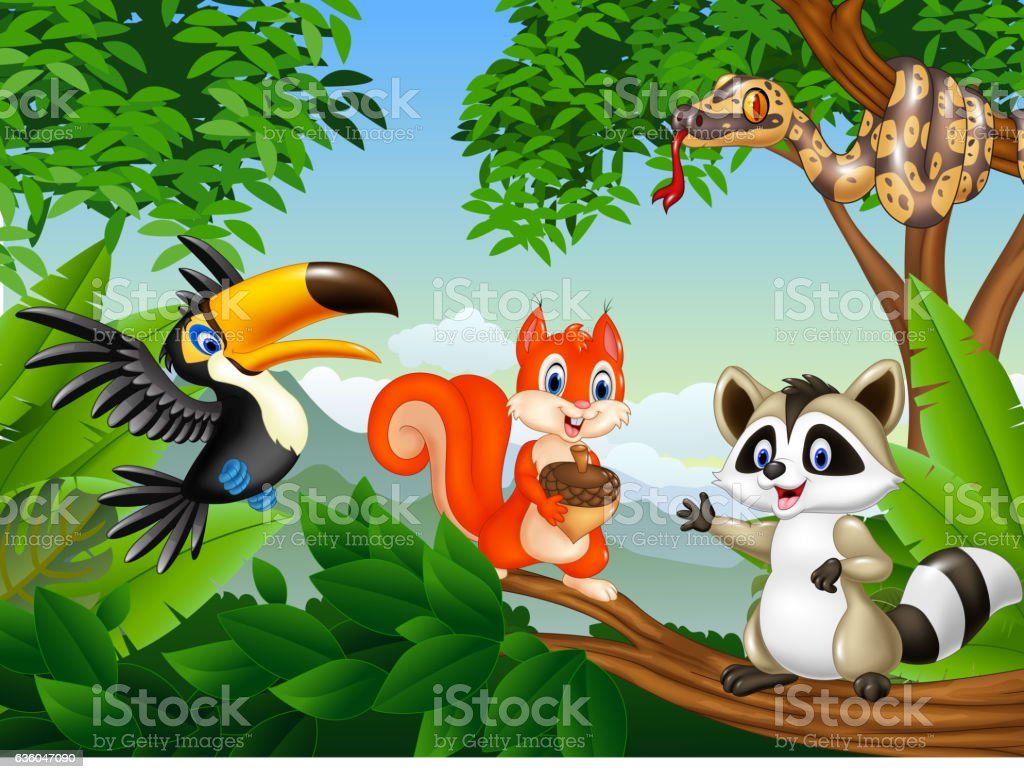 Cartoon forest scene with different animals vector art illustration