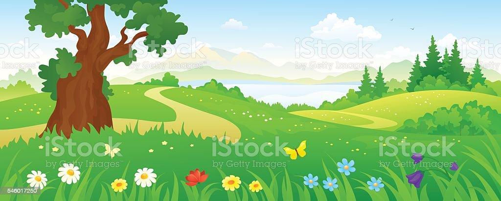 Cartoon forest vector art illustration
