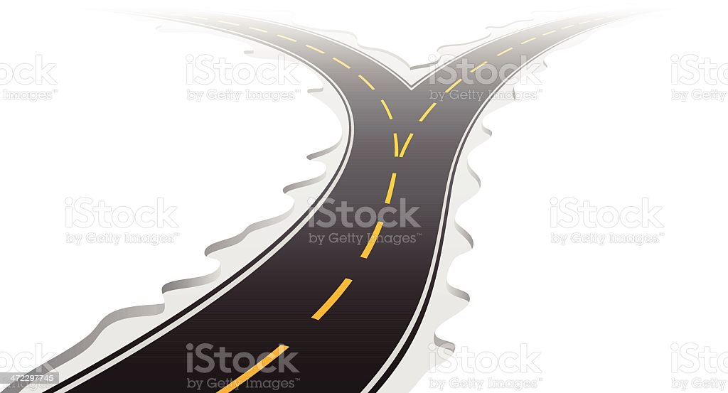 Cartoon forked road with yellow lines on white vector art illustration