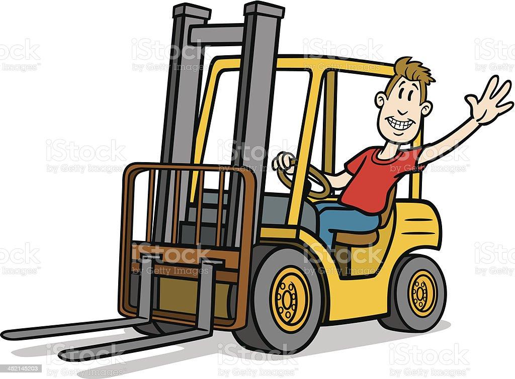Cartoon Forklift Driver vector art illustration