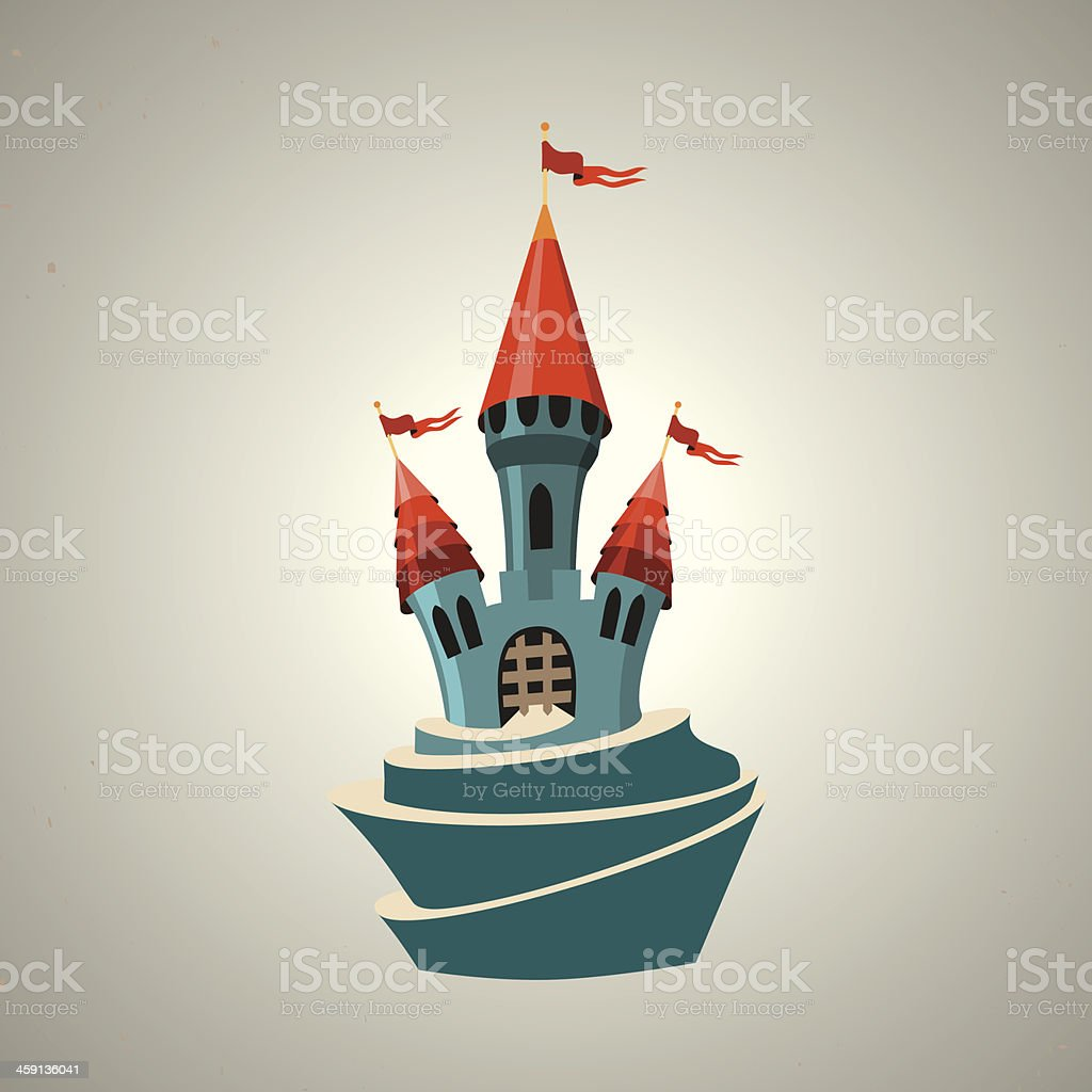 Cartoon fortified castle with flags. Icon. vector art illustration