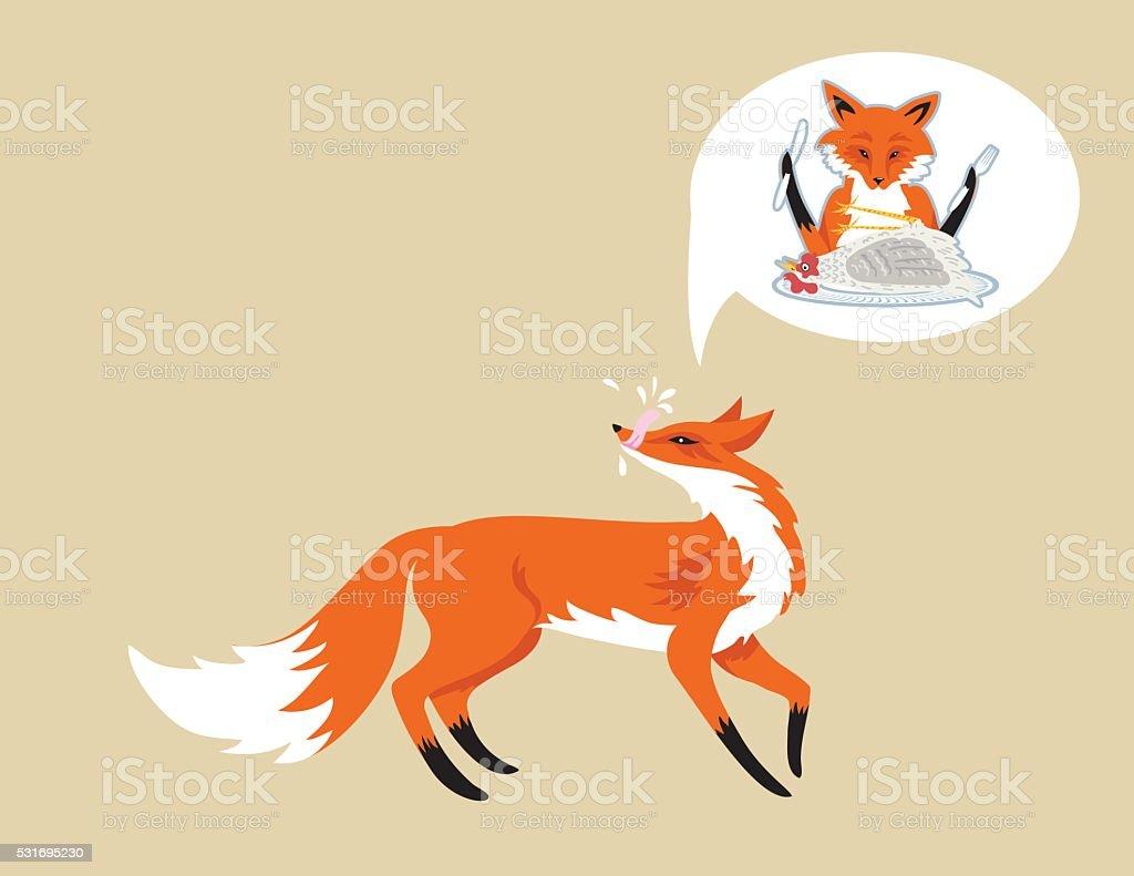 Cartoon Fox Isolated On Beige Background vector art illustration