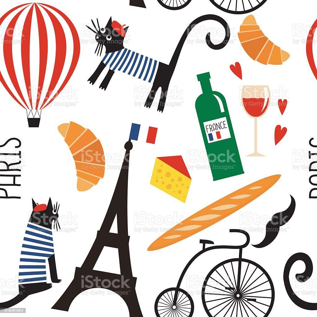 Cartoon french culture symbols seamless pattern. vector art illustration