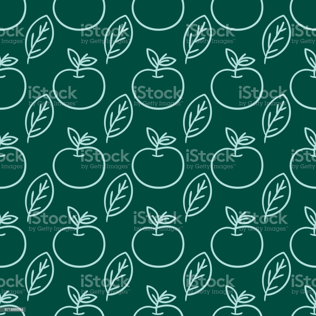 Cartoon fresh apple doodle fruits in flat style seamless pattern food summer design vector illustration vector art illustration