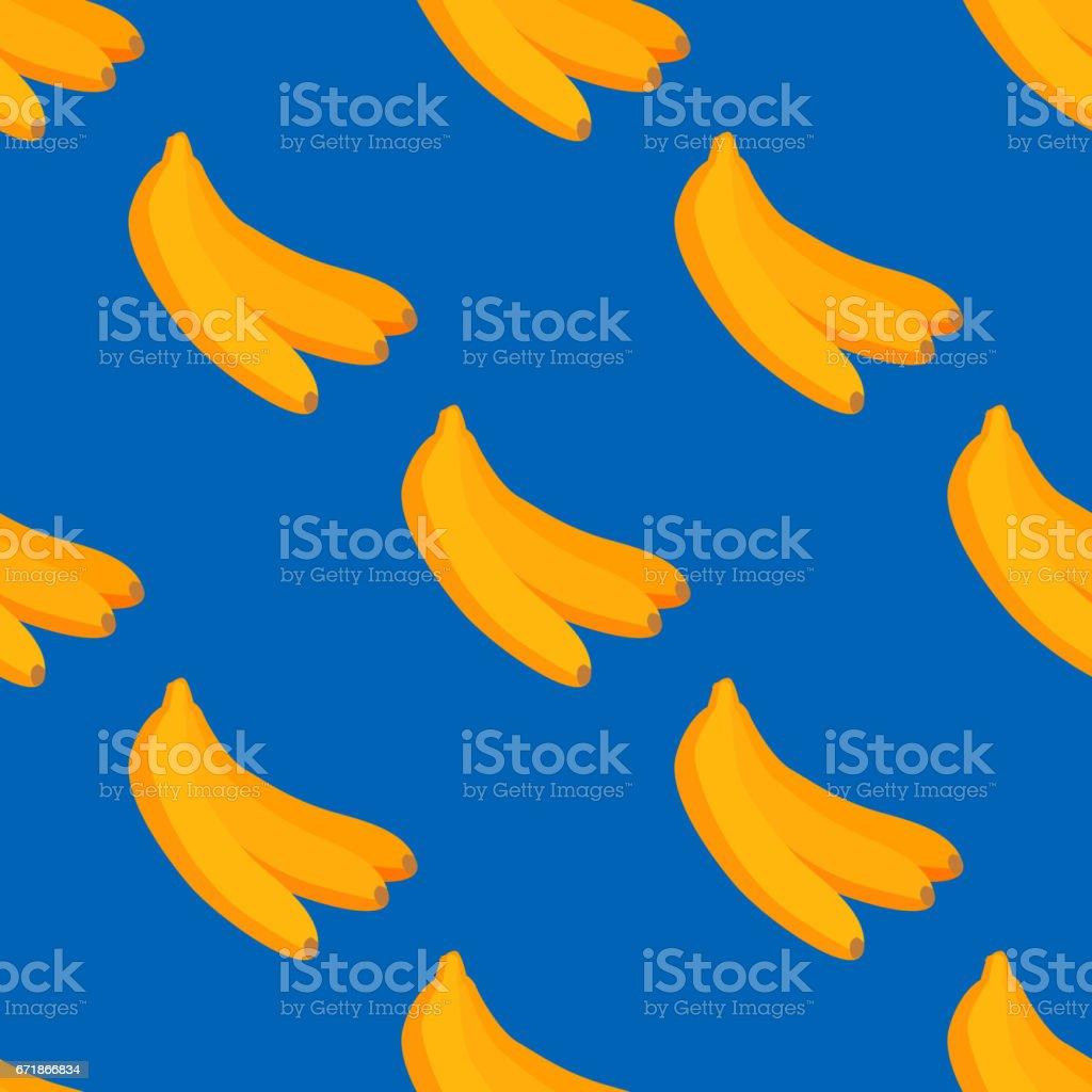 Cartoon fresh banana fruits in flat style seamless pattern food summer design vector illustration vector art illustration