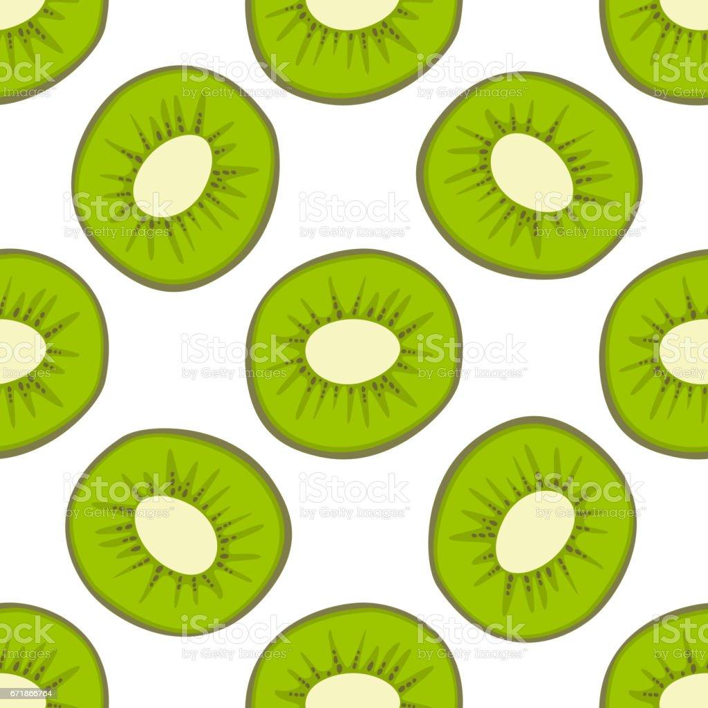 Cartoon fresh kiwi fruits in flat style seamless pattern food summer design vector illustration vector art illustration