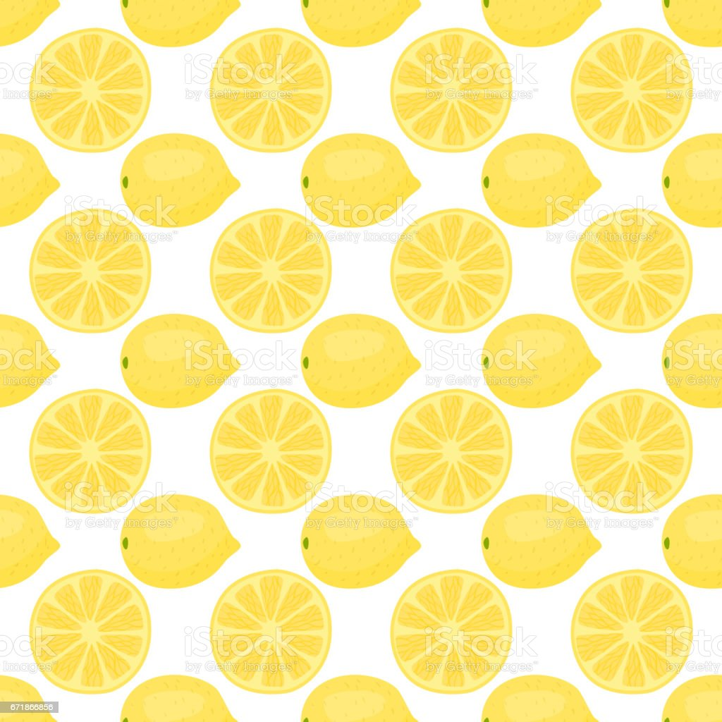 Cartoon fresh lemon fruits in flat style seamless pattern food summer design vector illustration vector art illustration