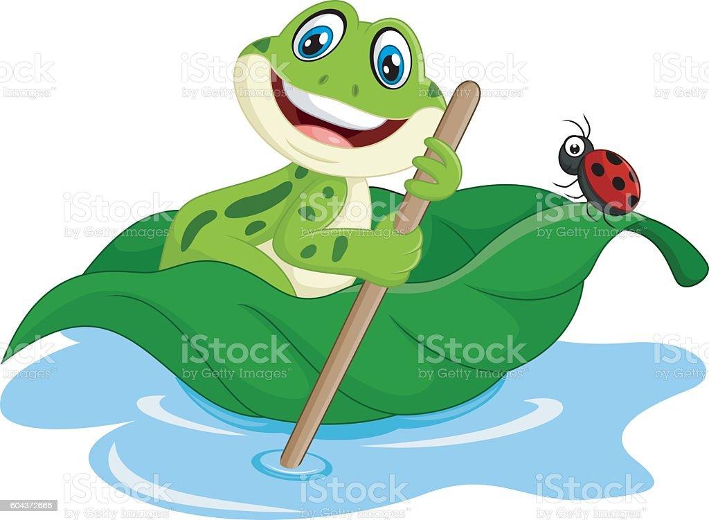 Cartoon frog paddle leave vector art illustration