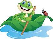 Cartoon frog paddle leave