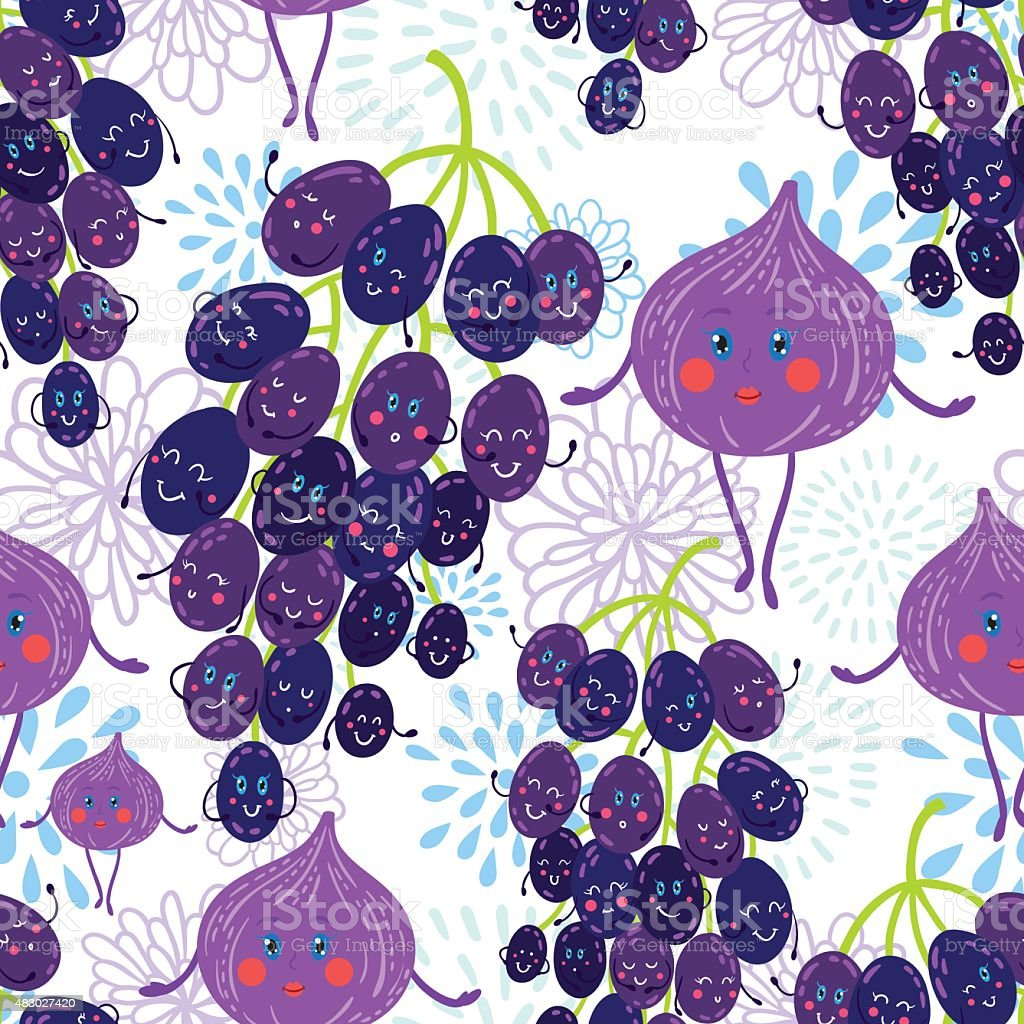 Cartoon fruit pattern vector art illustration