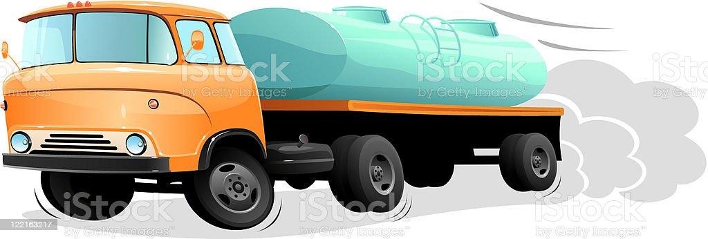Cartoon fuel truck vector art illustration