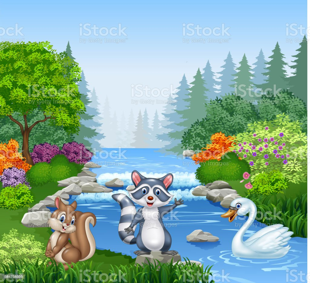 Cartoon funny animals in Beautiful river in forest vector art illustration