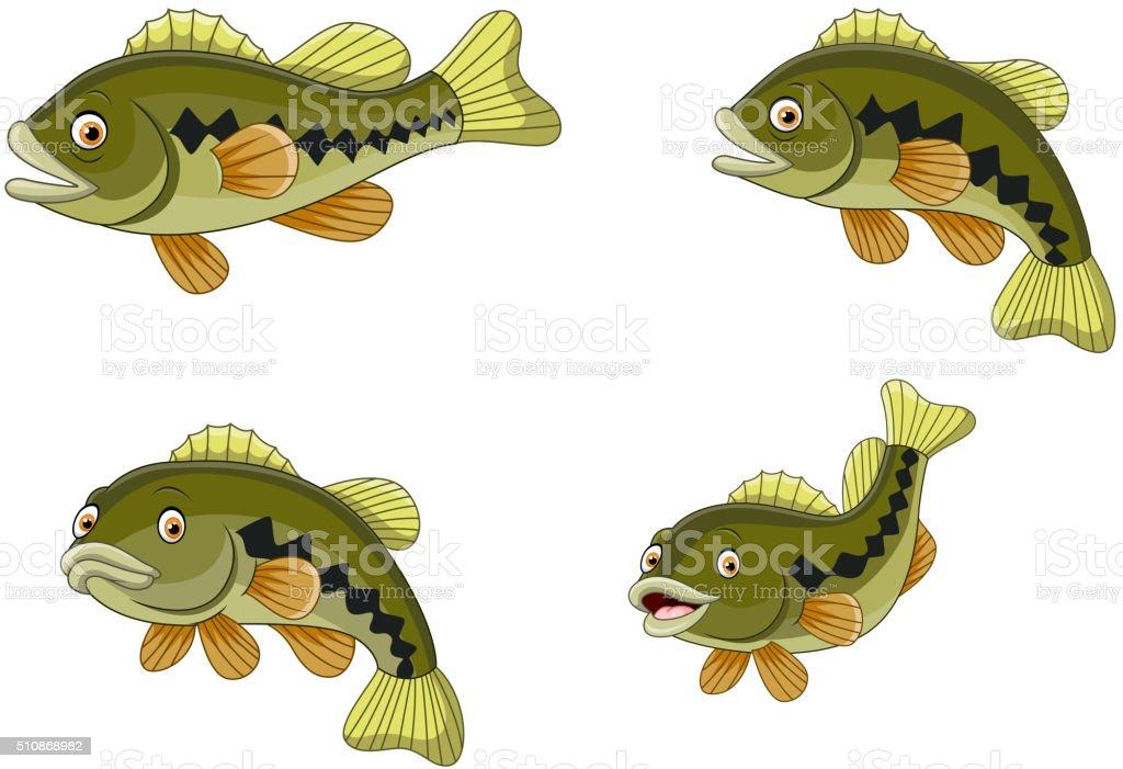 Cartoon funny bass fish collection vector art illustration