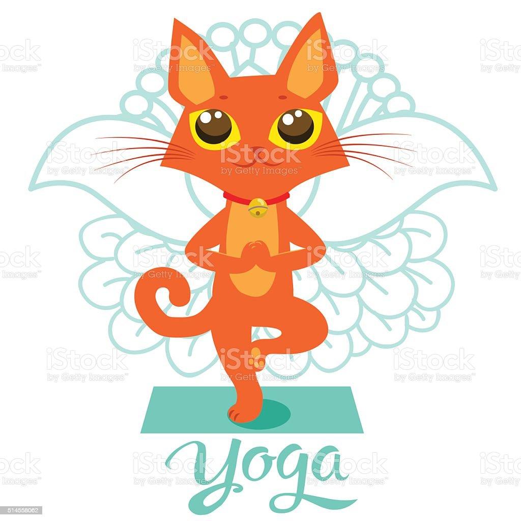 Comic Lustige Katze Symbole Yogaposition Zurück Katze Pose Yoga ...