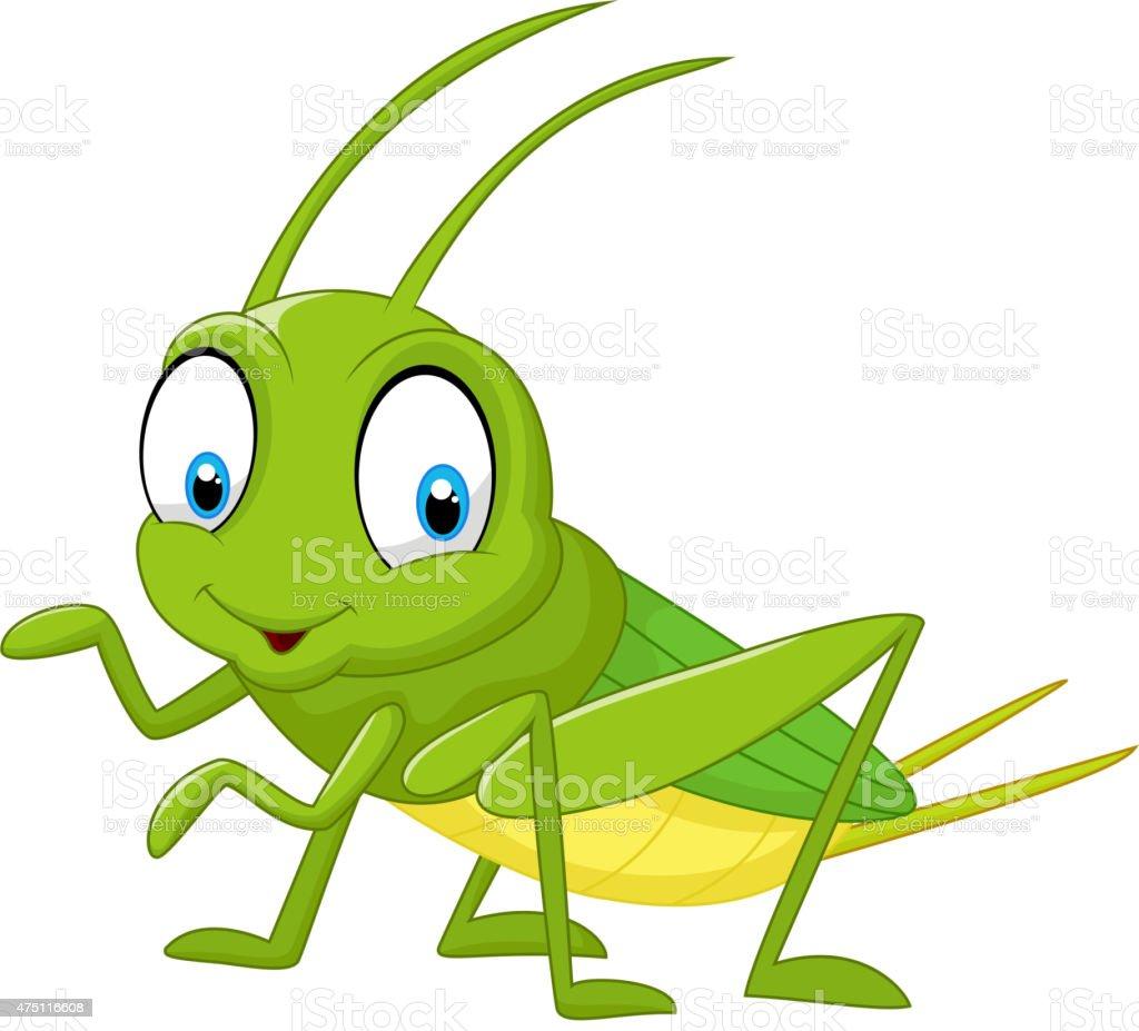 Cartoon funny cricket vector art illustration