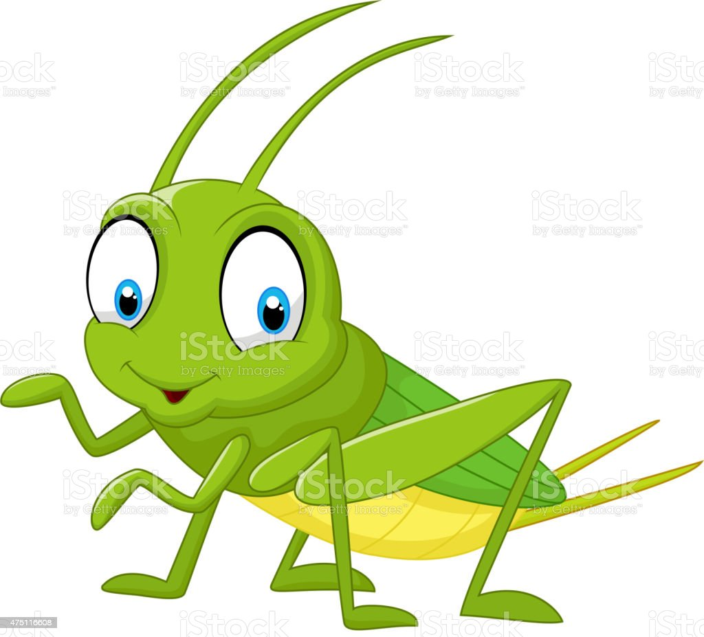 Cartoon funny cricket vector art illustration