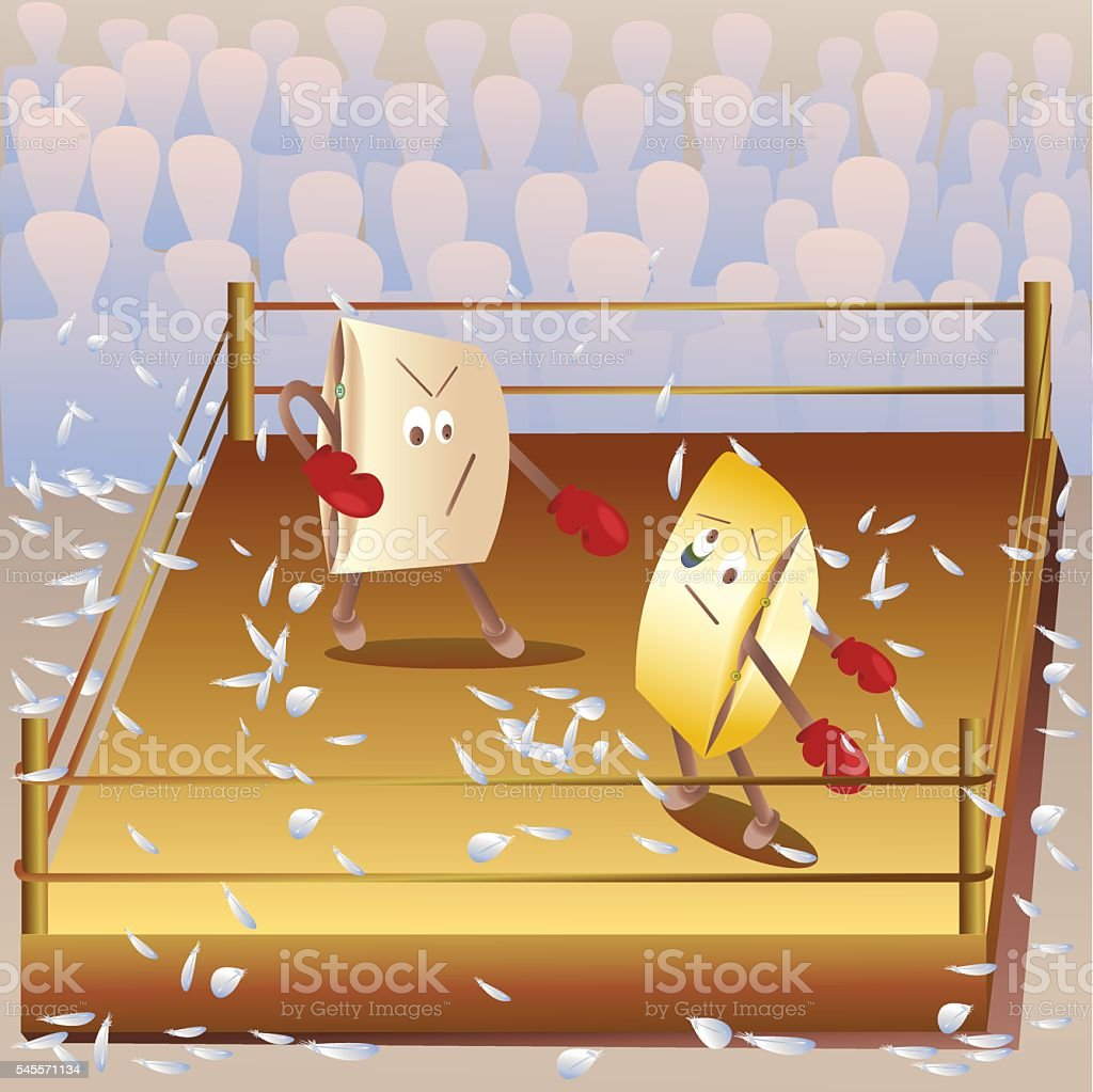 cartoon funny cushion in the ring to play Boxing royalty-free stock vector art