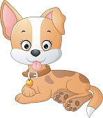 Cartoon funny dog lay down