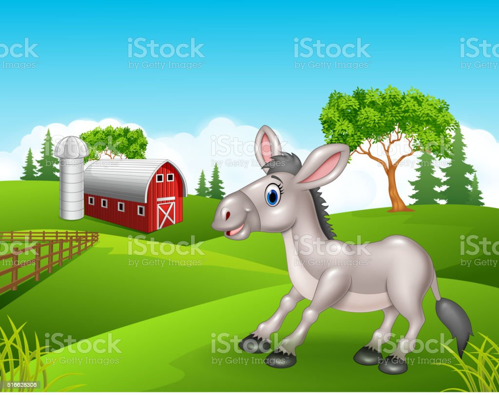 Cartoon funny donkey in the farm vector art illustration
