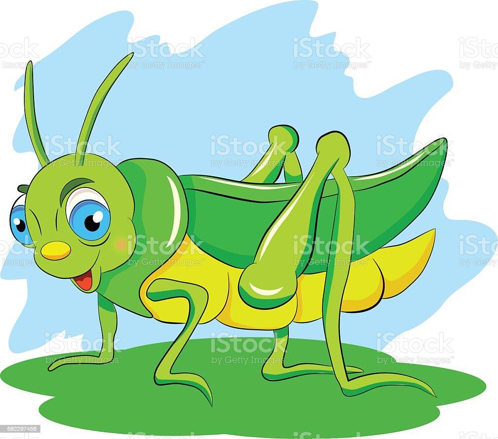 Cartoon funny green grasshopper vector art illustration