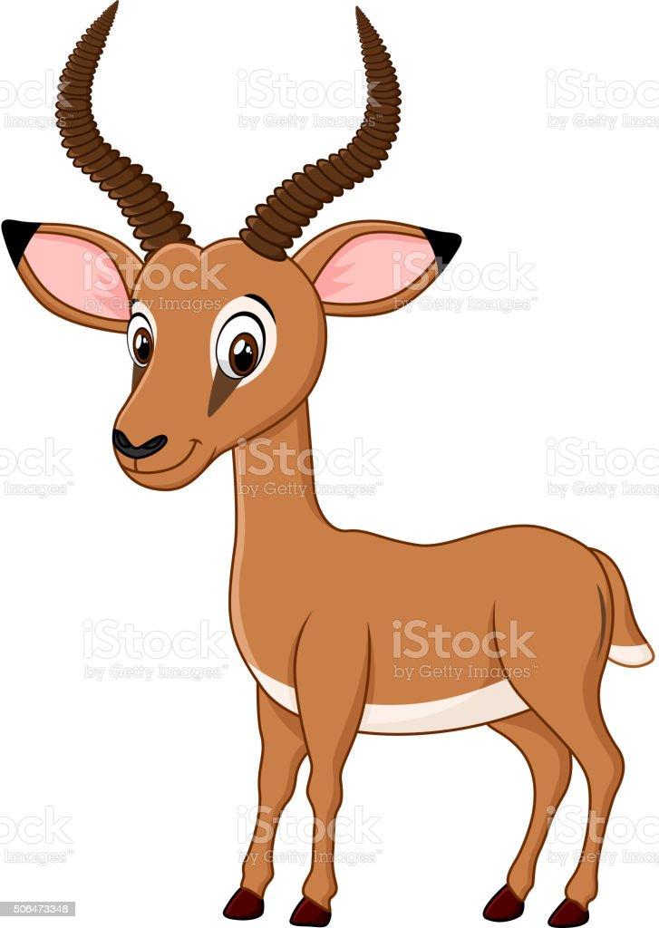 Cartoon funny impala isolated on white background vector art illustration