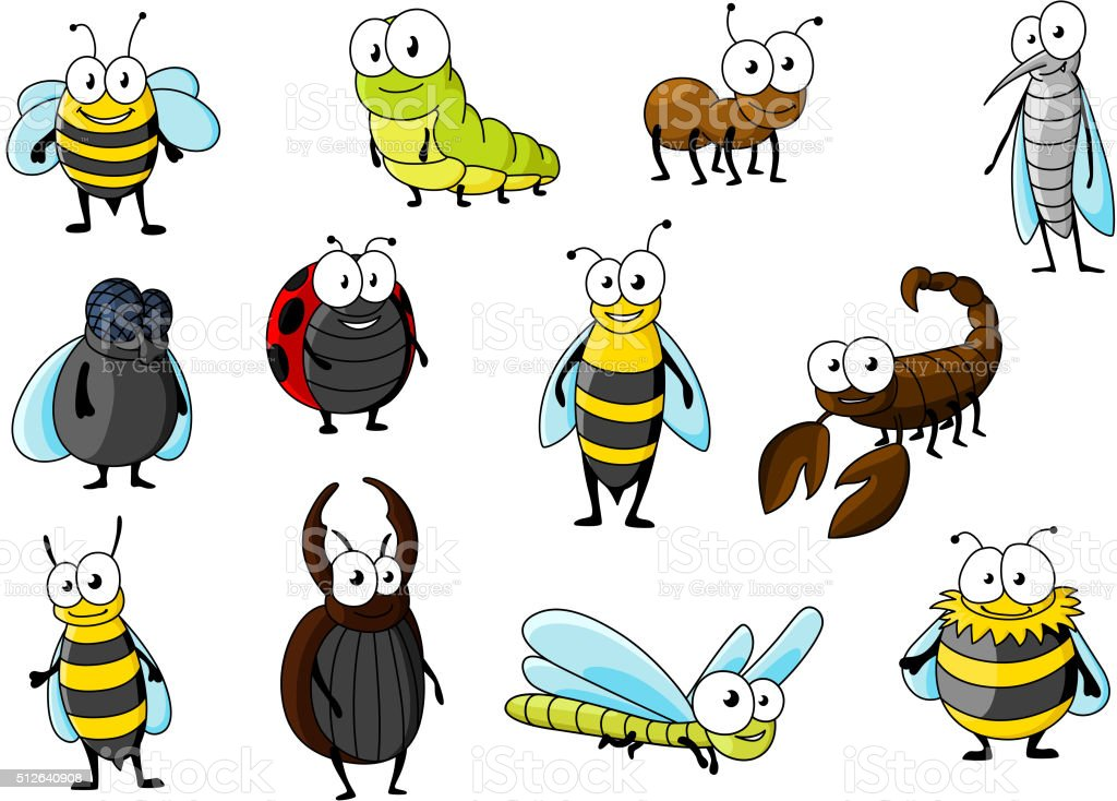 Cartoon funny insect animals characters vector art illustration
