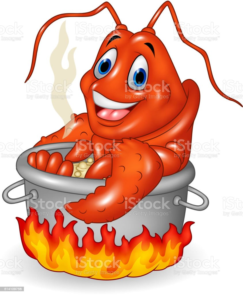 Cartoon funny lobster being cooked in a pan vector art illustration