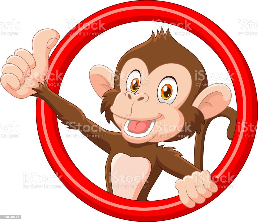 Cartoon funny monkey giving thumb up vector art illustration
