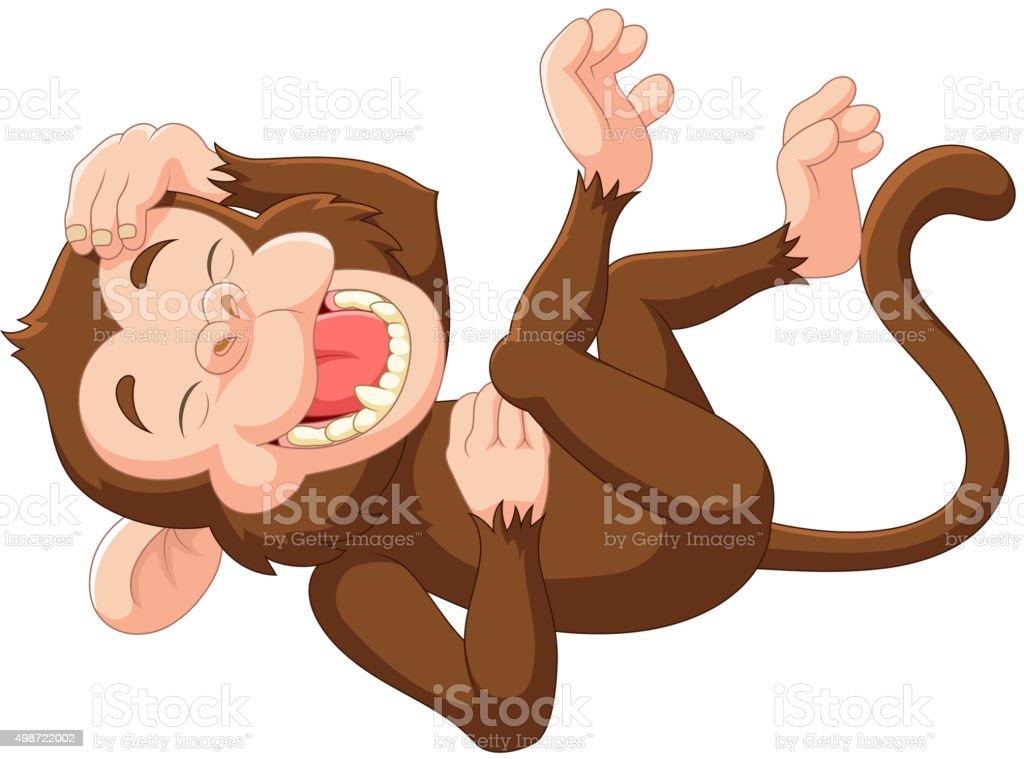 Cartoon funny monkey laughing vector art illustration