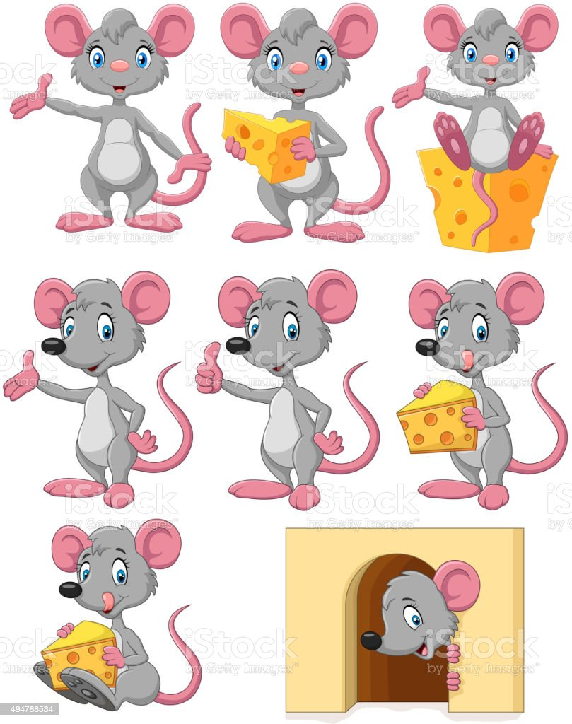 Cartoon funny mouse collection set vector art illustration