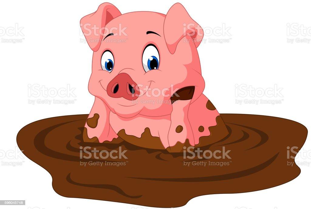 Cartoon funny pig sitting vector art illustration